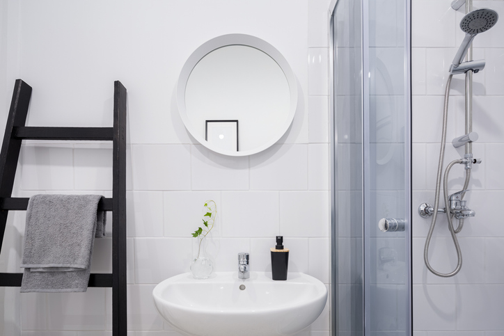 For your basins and taps, try wall-mounted or wall-hung ones. A wall-mounted vanity will also free up some floor space.