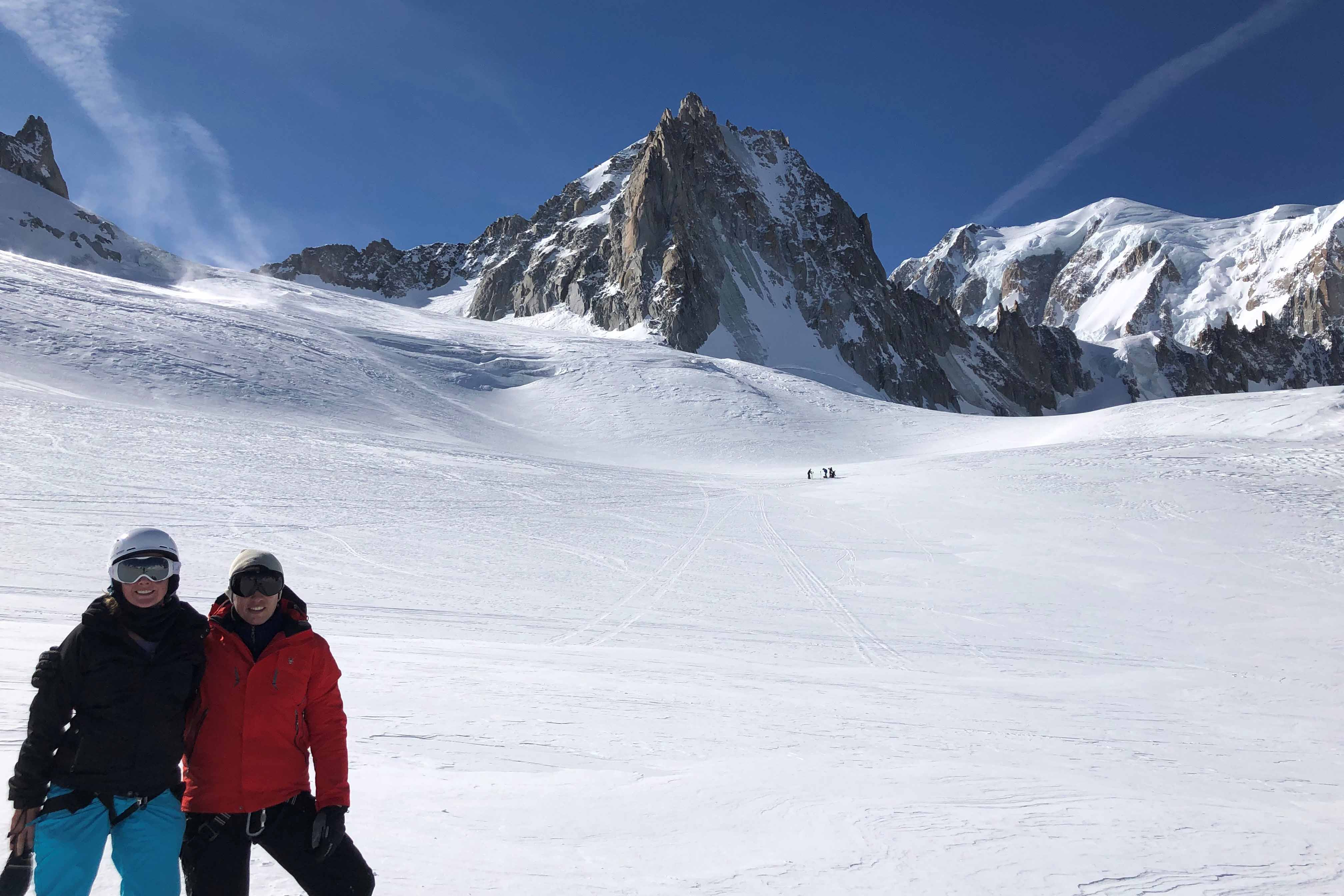 Alycia Inglis recently went to Chamonix in France to ski the famous La Vallee in France to ski the famous La Vallee Blanche, an off-piste route full of Bla nche, an off-piste route full of crevasses and avalanche risks crevasses and avalanche risks
