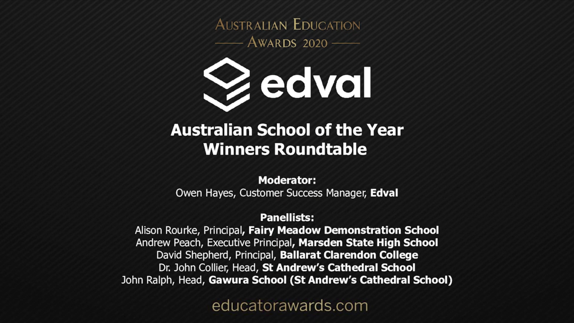 Australian Education Awards - Edval Australian School of the Year Panel