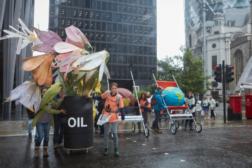 Climate activists hold Father