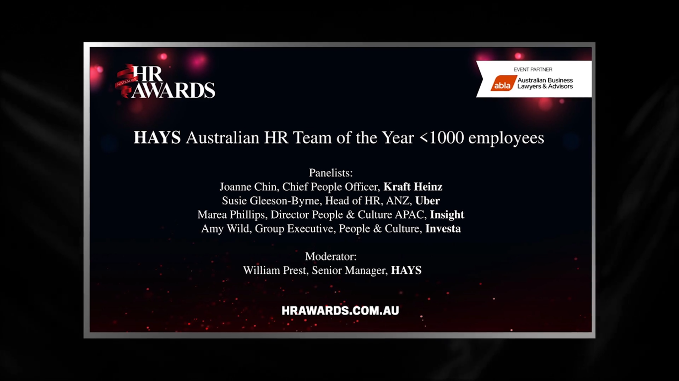 Hays Panel - Australian HR team of the Year <1000