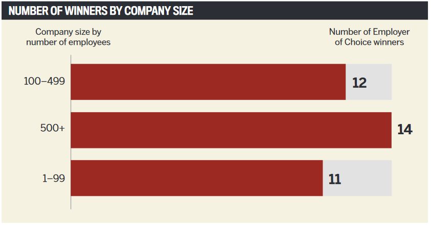 Number of winners by company size