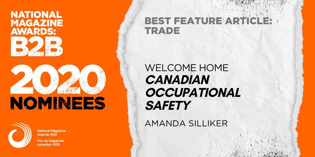 Canadian Occupational Safety editor nominated for 2020 National Magazine Awards: B2B
