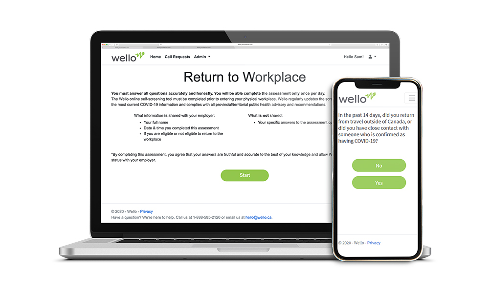 Wello COVID-19 Return to Workplace platform